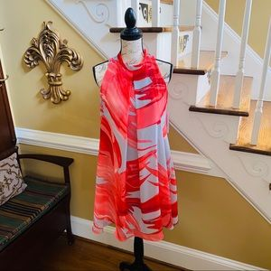 Signature Robbie Lee coral & gray palm print dress